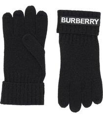burberry kingdom and logo appliqué gloves - black