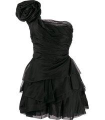 ermanno scervino one-shoulder taffeta dress - black