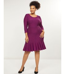 lane bryant women's textured a-line sweater dress 22/24 dark purple