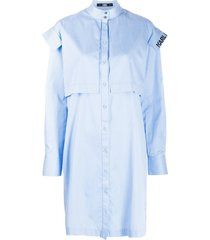 karl lagerfeld striped poplin dress - blue
