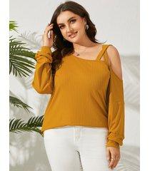 yoins plus suéter de manga larga de punto acanalado con hombros descubiertos y tamaño