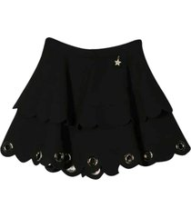 elisabetta franchi la mia bambina black flared skirt with eyelets