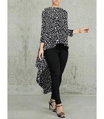 camicetta irregolare manica lunga con scollo a o stampa leopardo