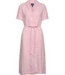 d2. linen chambray ss shirt dress knälång klänning rosa gant