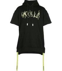 haculla masked pins short sleeved hoodie - black