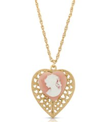 2028 cameo heart overlay filigree pendant necklace