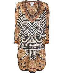 camilla zebra-print loose dress - neutrals
