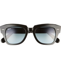 women's ray-ban state street 49mm gradient square sunglasses - black/ blue gradient grey