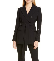 women's altuzarra waist tie double breasted jacket, size 12 us - black