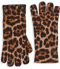 leopard-print cashmere gloves