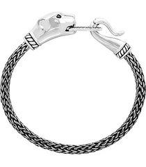 sterling silver & black diamond panther bracelet