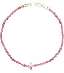 diamond boy rose tourmaline bead bracelet