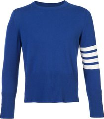 thom browne 4-bar short cashmere pullover - blue