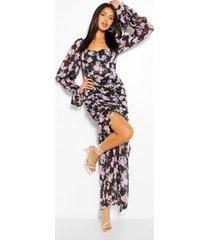bloemenprint maxi jurk met ruches en split, zwart