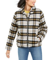 kendall + kylie cropped plaid puffer coat