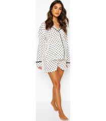 zwangerschap pyjama met shorts en stippen, wit
