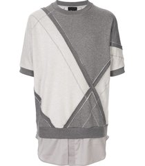 3.1 phillip lim short dolman sleeve patchwork sweatshirt - grey
