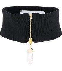 atu body couture zip-up choker - black