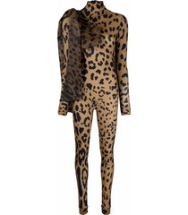 atu body couture animal-print fitted jumpsuit - neutrals