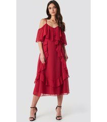 trendyol flywheel detailed midi dress - red