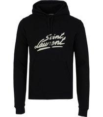 black cotton 50's signature logo hoodie