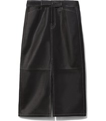 proenza schouler white label leather straight skirt black 10