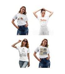 kit 4 camisetas femininas my t-shirt vintage branca