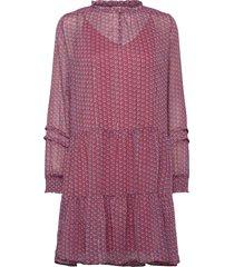 dress w. gatherings and smock detai knälång klänning röd coster copenhagen