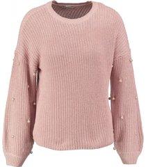 only kortere roze oversized trui met parels