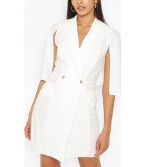 tall tailored pocket front cape blazer dress, ivory
