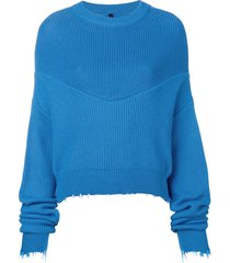 unravel project long-sleeve draped sweater - blue