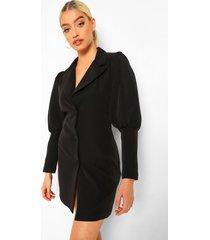 getailleerde blazer jurk met laag decolleté, black