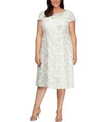 plus size women's alex evenings sequin lace cocktail dress, size 18w - ivory