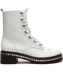 andorra patent leather bootie - 11 white verniz