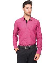 camisa manga longa tony menswear slim fit maniquetada rosa pink