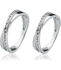 anel aparador de prata 925 com 20 pedras de zircônia de 1,25 mm natália joias promise
