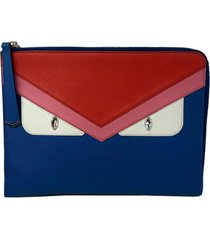 fendi monster leather pouch blue, red sz: m