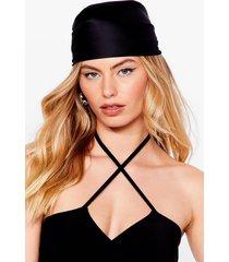 womens sleeking our mind satin headscarf - black