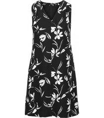 vestido vneck floral graphic print negro banana republic