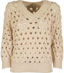 brunello cucinelli v-neck cotton feather yarn cable net sweater