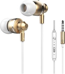 audífonos manos llibres, m300 auriculares de control de volumen de metal bass auriculares estéreo hifi con micrófono para teléfono ordenador (oro)