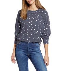 women's caslon cozy print top, size x-small - blue