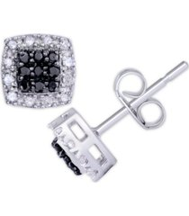 black and white diamond 1/3 ct. t.w. cushion square stud earrings in sterling silver