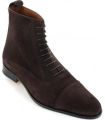 handmade men cap toe brown laceup boot, men brown ankle leather boots, mens boot