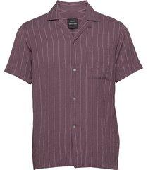 drapy stripe samson overhemd met korte mouwen paars mads nørgaard