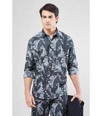camisa double reserva face folhas masculina