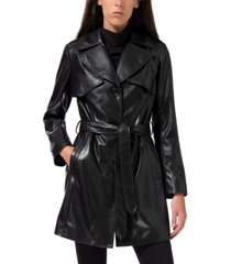 sam edelman faux-leather belted trench coat