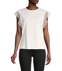 ted baker london women's lace-sleeve cotton top - white - size 4 (10)
