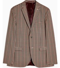 mens brown gingham check skinny fit single breasted suit blazer with notch lapels