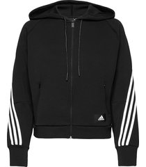 sportswear wrapped 3-stripes full-zip hoodie w hoodie trui zwart adidas performance